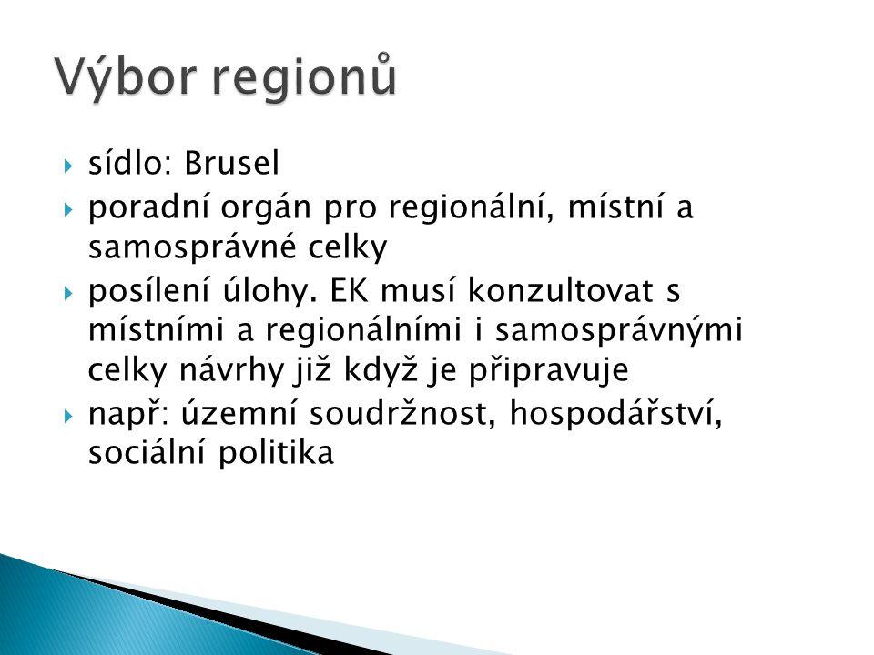  sídlo: Brusel  poradní orgán pro regionální, místní a samosprávné celky  posílení úlohy. EK musí konzultovat s místními a regionálními i samospráv