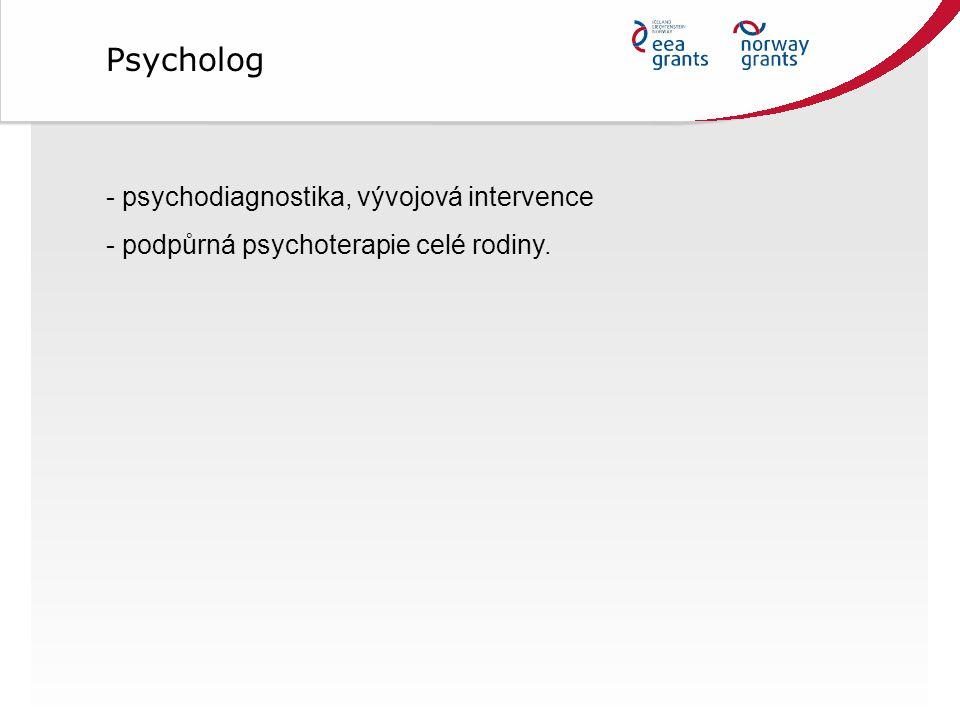 - psychodiagnostika, vývojová intervence - podpůrná psychoterapie celé rodiny. Psycholog