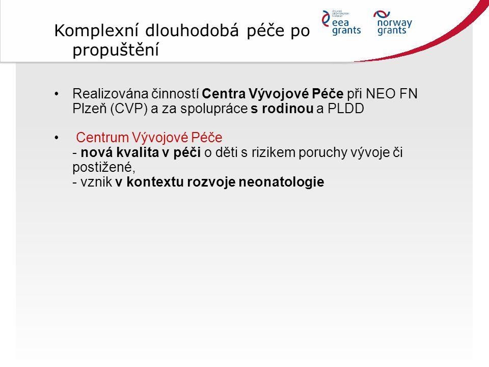 Realizována činností Centra Vývojové Péče při NEO FN Plzeň (CVP) a za spolupráce s rodinou a PLDD Centrum Vývojové Péče - nová kvalita v péči o děti s