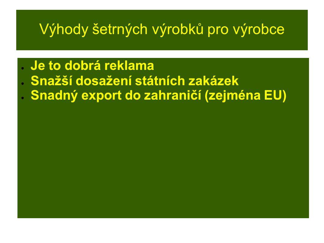 Výhody šetrných výrobků pro výrobce ● Je to dobrá reklama ● Snažší dosažení státních zakázek ● Snadný export do zahraničí (zejména EU)