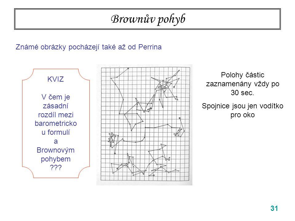 31 Brownův pohyb Známé obrázky pocházejí také až od Perrina Polohy částic zaznamenány vždy po 30 sec. Spojnice jsou jen vodítko pro oko KVIZ V čem je