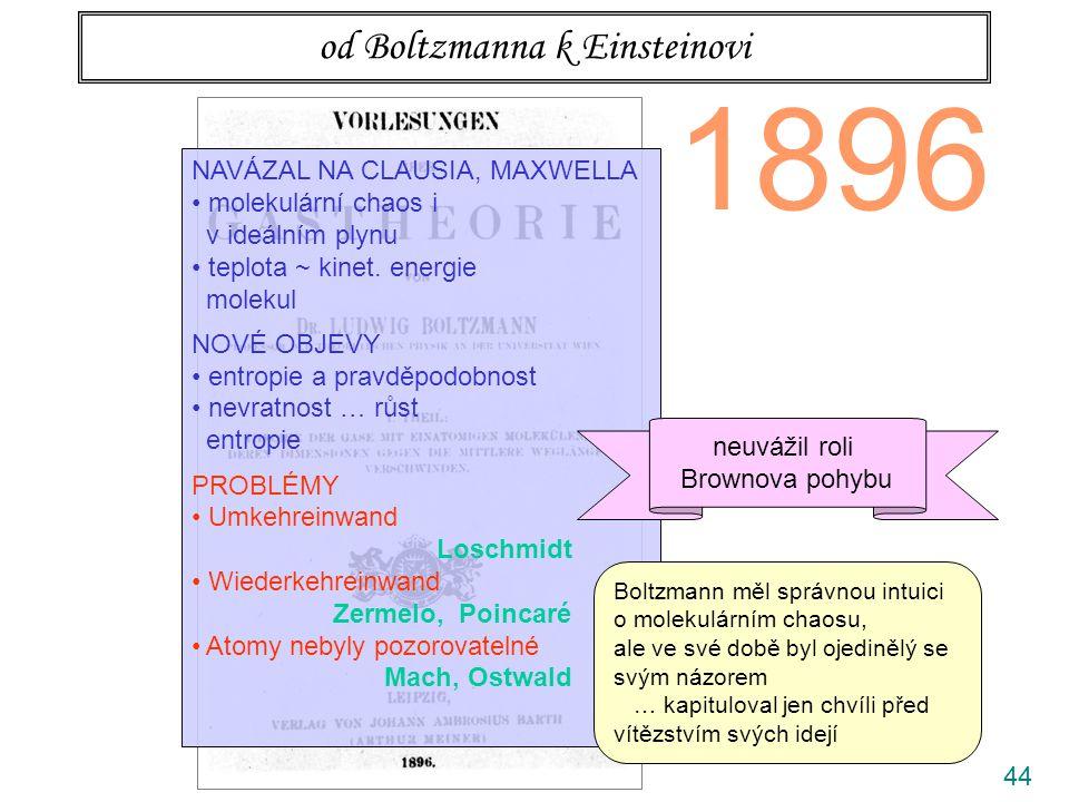 44 od Boltzmanna k Einsteinovi 1896 NAVÁZAL NA CLAUSIA, MAXWELLA molekulární chaos i v ideálním plynu teplota ~ kinet. energie molekul NOVÉ OBJEVY ent