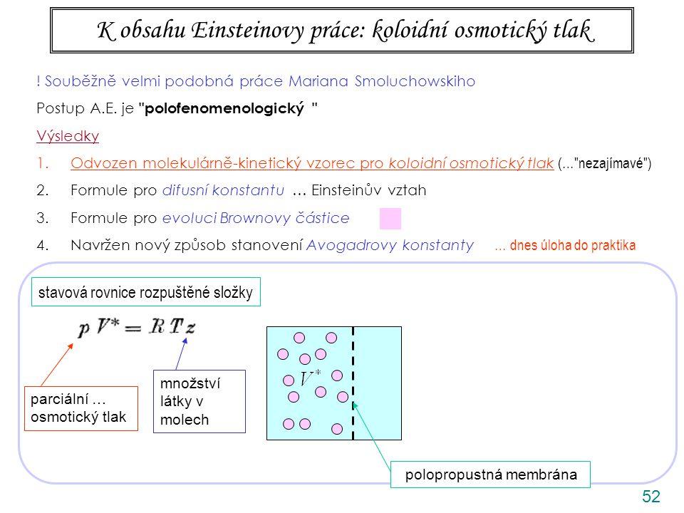 52 K obsahu Einsteinovy práce: koloidní osmotický tlak ANIMACE stavová rovnice rozpuštěné složky polopropustná membrána parciální … osmotický tlak mno
