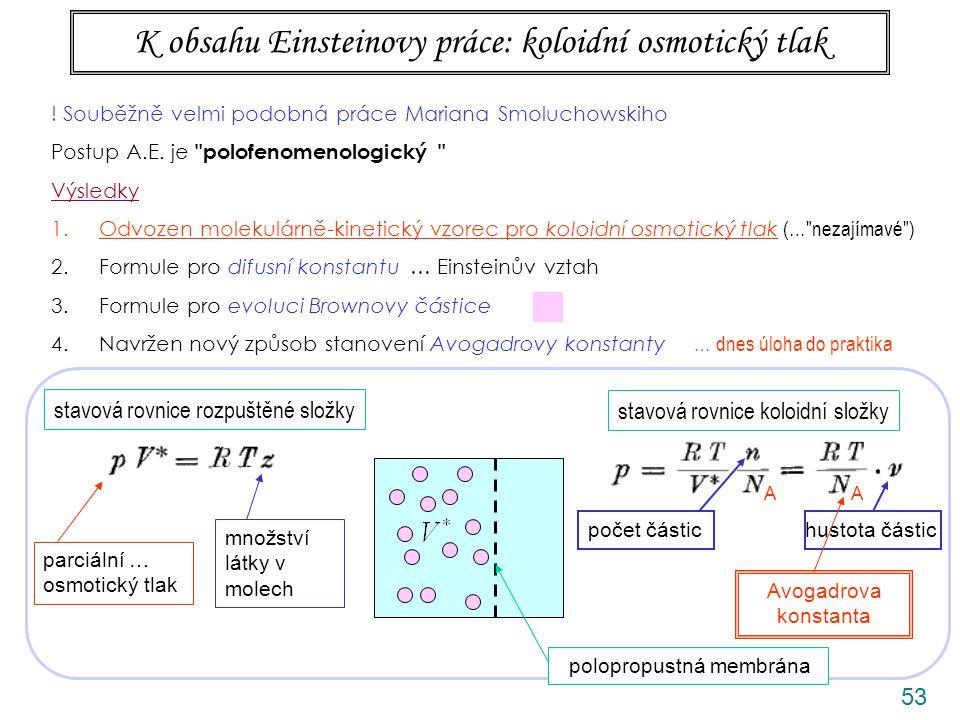 53 K obsahu Einsteinovy práce: koloidní osmotický tlak ANIMACE stavová rovnice rozpuštěné složky stavová rovnice koloidní složky polopropustná membrána parciální … osmotický tlak množství látky v molech AA hustota částic Avogadrova konstanta .