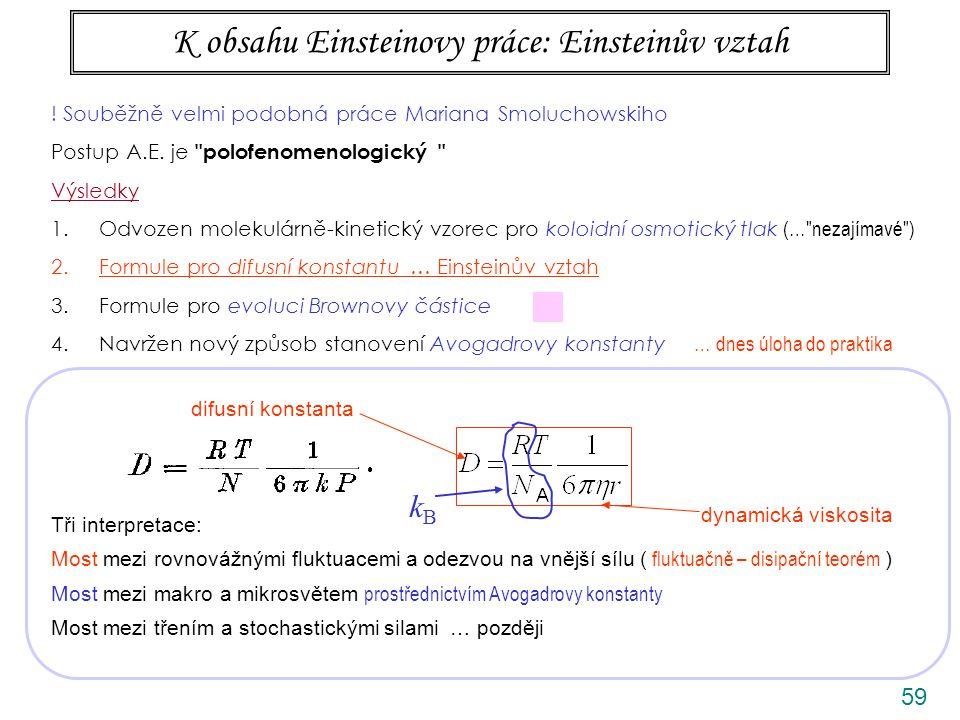 59 K obsahu Einsteinovy práce: Einsteinův vztah Tři interpretace: Most mezi rovnovážnými fluktuacemi a odezvou na vnější sílu ( fluktuačně – disipační teorém ) Most mezi makro a mikrosvětem prostřednictvím Avogadrovy konstanty Most mezi třením a stochastickými silami … později kBkB difusní konstanta dynamická viskosita ANIMACE .