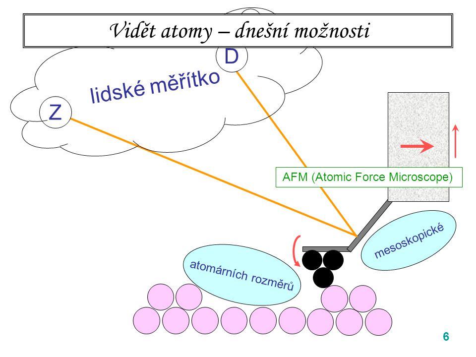 6 Z D mesoskopické lidské měřítko Vidět atomy – dnešní možnosti AFM (Atomic Force Microscope) atomárních rozměrů