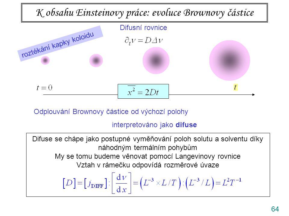 64 K obsahu Einsteinovy práce: evoluce Brownovy částice Difusní rovnice Odplouvání Brownovy částice od výchozí polohy interpretováno jako difuse Perrin se spolupracovníky provedl opětovaná měření a z nich vypočetl difusní konstantu.