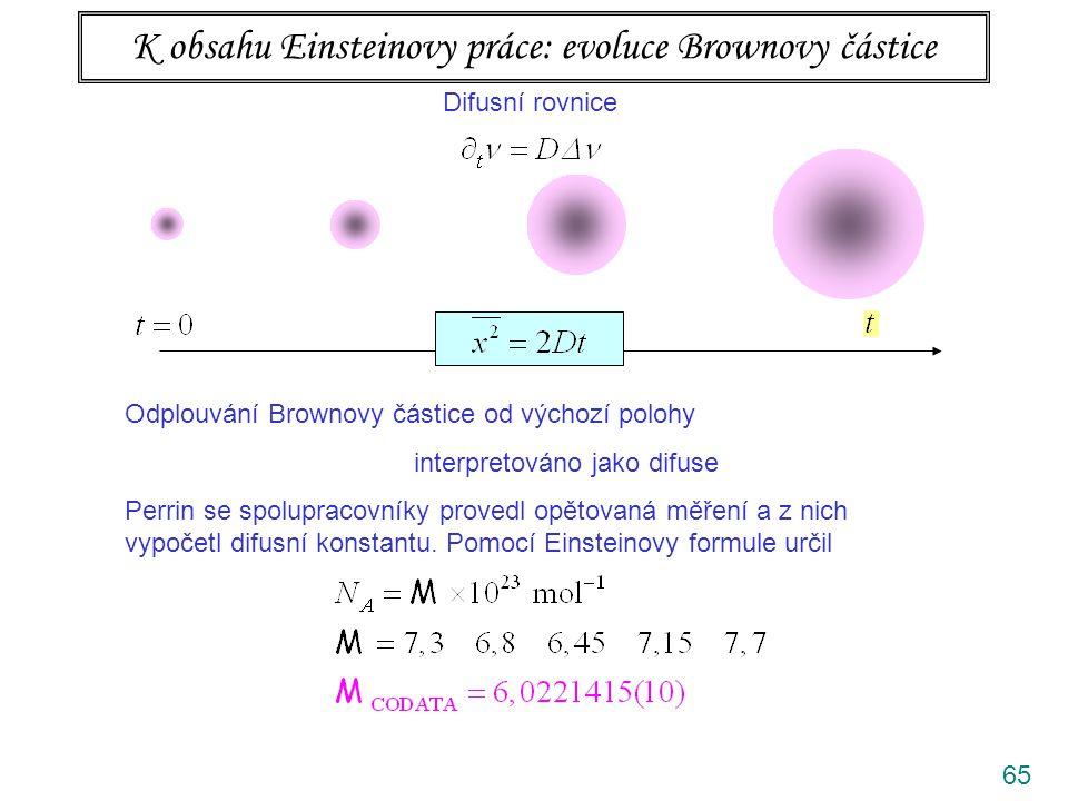 65 K obsahu Einsteinovy práce: evoluce Brownovy částice Difusní rovnice Odplouvání Brownovy částice od výchozí polohy interpretováno jako difuse Perrin se spolupracovníky provedl opětovaná měření a z nich vypočetl difusní konstantu.