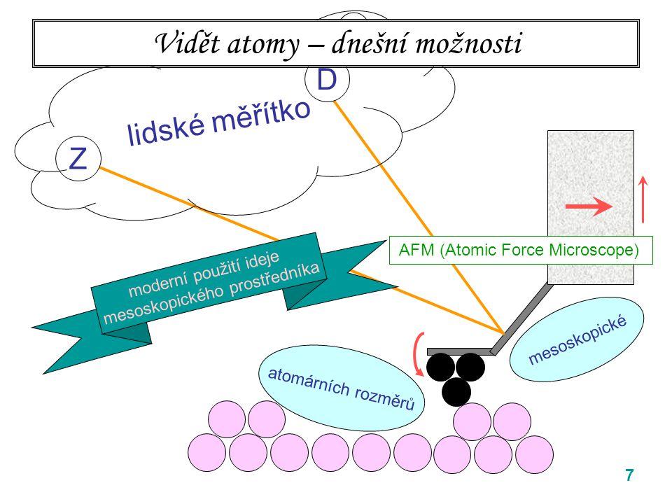 7 Z D mesoskopické lidské měřítko Vidět atomy – dnešní možnosti AFM (Atomic Force Microscope) atomárních rozměrů moderní použití ideje mesoskopického