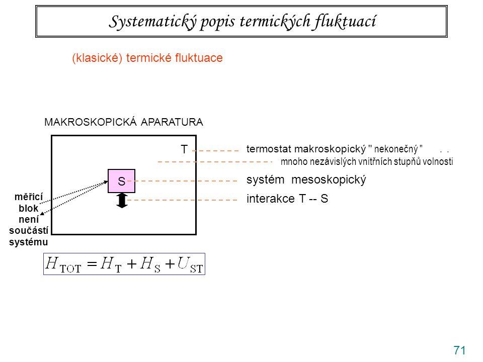 71 Systematický popis termických fluktuací MAKROSKOPICKÁ APARATURA S T termostat makroskopický nekonečný ..