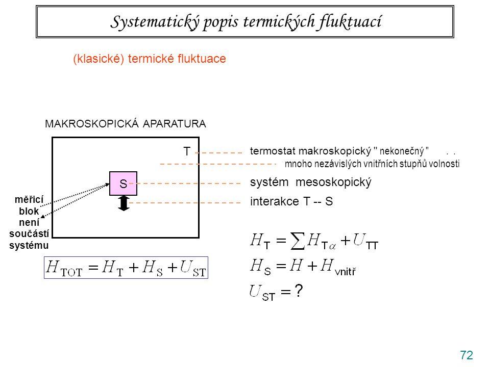 72 Systematický popis termických fluktuací MAKROSKOPICKÁ APARATURA S T termostat makroskopický nekonečný ..