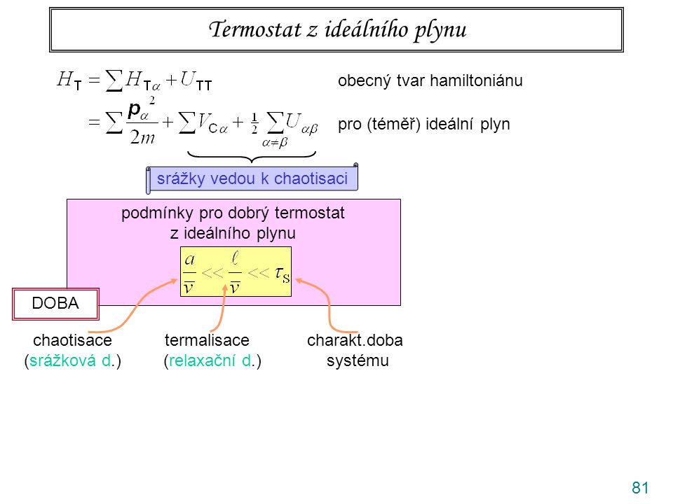 81 Termostat z ideálního plynu obecný tvar hamiltoniánu pro (téměř) ideální plyn srážky vedou k chaotisaci podmínky pro dobrý termostat z ideálního pl
