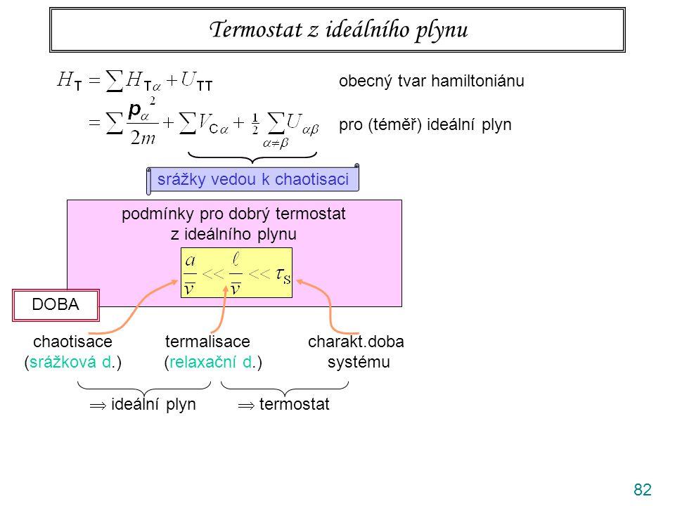 82 Termostat z ideálního plynu obecný tvar hamiltoniánu pro (téměř) ideální plyn srážky vedou k chaotisaci podmínky pro dobrý termostat z ideálního pl