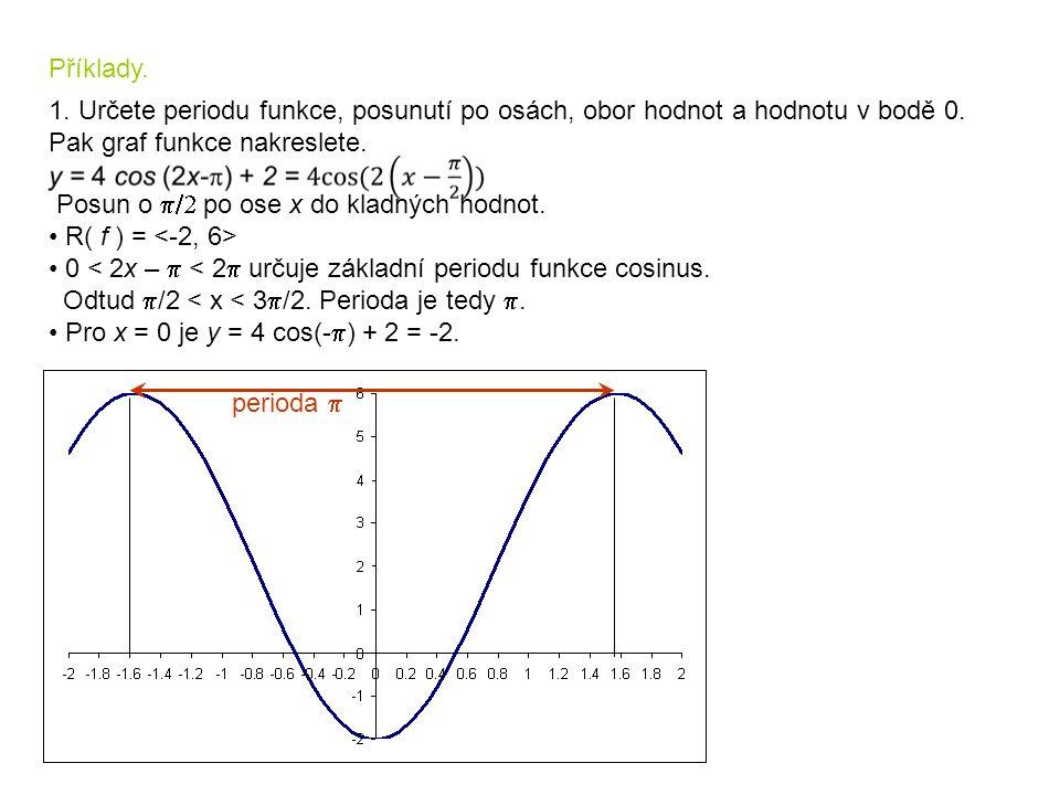 Příklady.1. Určete periodu funkce, posunutí po osách, obor hodnot a hodnotu v bodě 0.