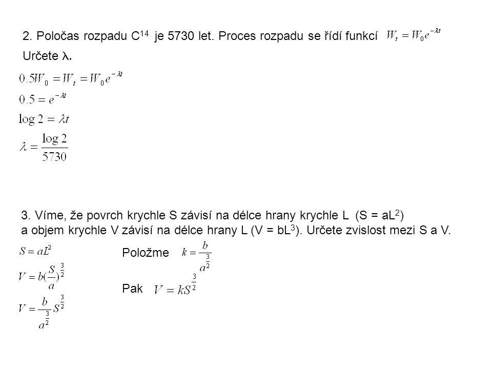 3. Víme, že povrch krychle S závisí na délce hrany krychle L (S = aL 2 ) a objem krychle V závisí na délce hrany L (V = bL 3 ). Určete zvislost mezi S