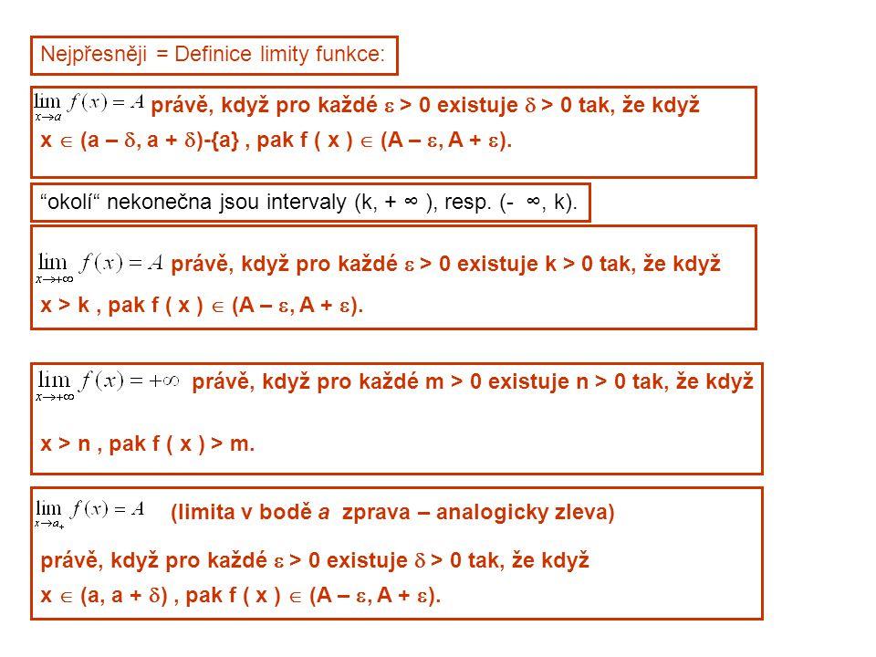 Nejpřesněji = Definice limity funkce: právě, když pro každé  > 0 existuje  > 0 tak, že když x  (a – , a +  )-{a}, pak f ( x )  (A – , A +  ).