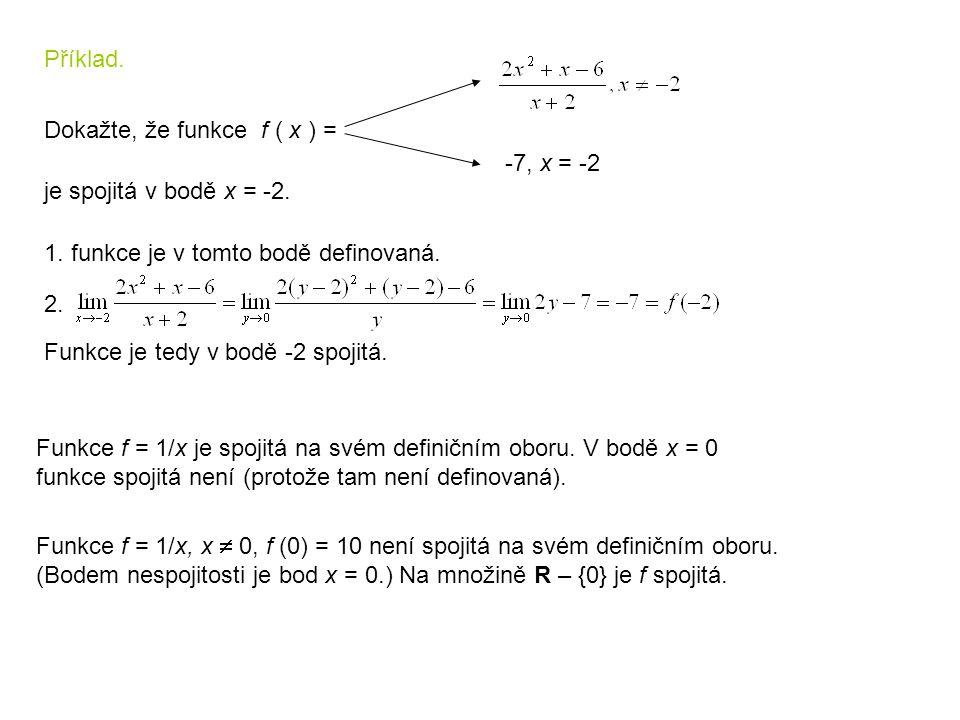 Příklad. Dokažte, že funkce f ( x ) = -7, x = -2 je spojitá v bodě x = -2. 1. funkce je v tomto bodě definovaná. 2. Funkce je tedy v bodě -2 spojitá.