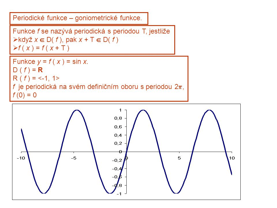 Periodické funkce – goniometrické funkce. Funkce f se nazývá periodická s periodou T, jestliže  když x  D( f ), pak x + T  D( f )  f ( x ) = f ( x