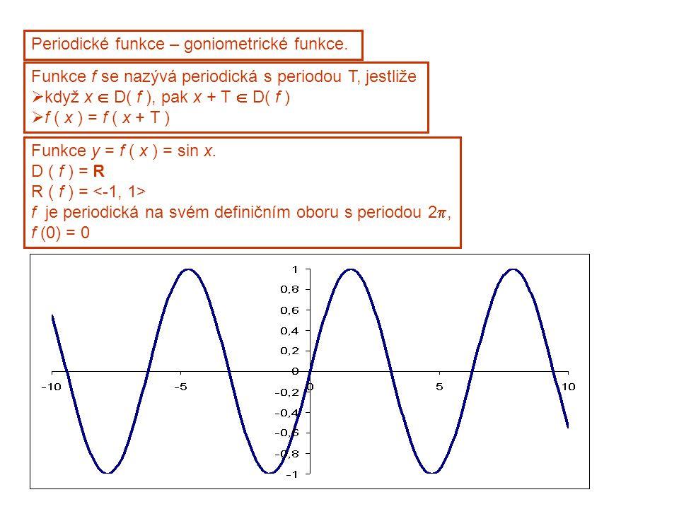 Periodické funkce – goniometrické funkce.
