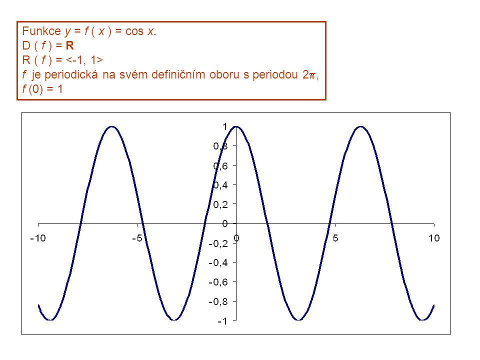 Funkce y = f ( x ) = cos x. D ( f ) = R R ( f ) = f je periodická na svém definičním oboru s periodou 2 , f (0) = 1