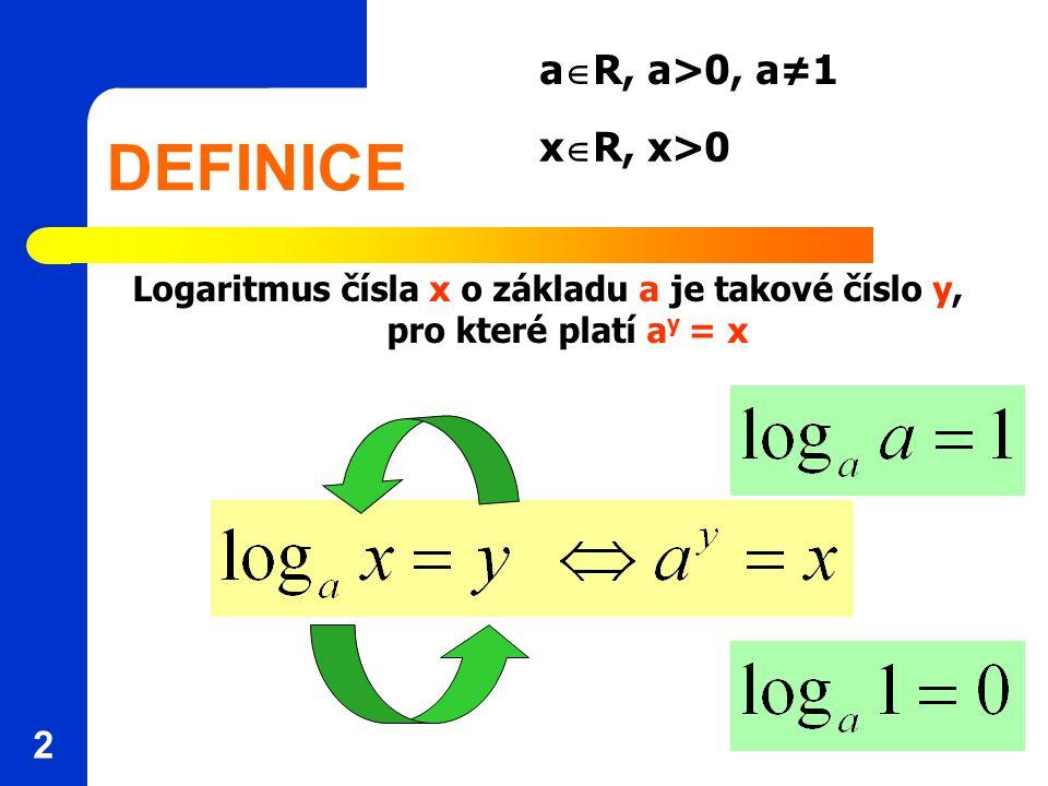 DEFINICE Logaritmus čísla x o základu a je takové číslo y, pro které platí a y = x 2 a  R, a>0, a≠1 x  R, x>0