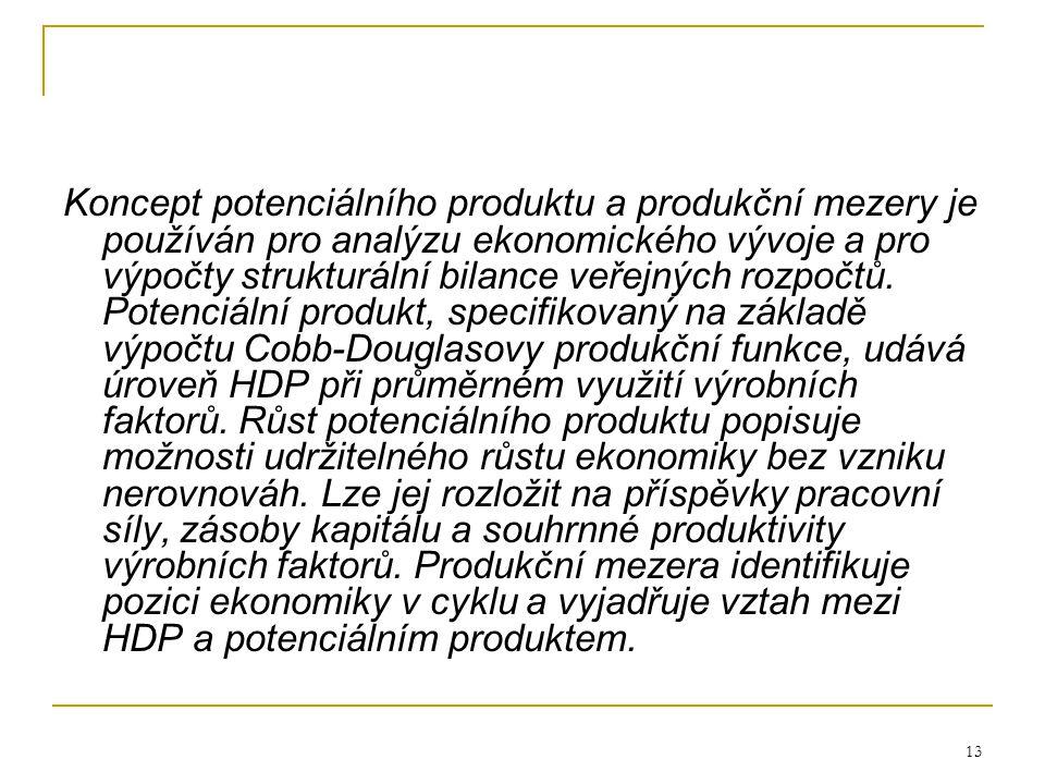 13 Koncept potenciálního produktu a produkční mezery je používán pro analýzu ekonomického vývoje a pro výpočty strukturální bilance veřejných rozpočtů