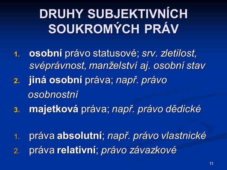 11 DRUHY SUBJEKTIVNÍCH SOUKROMÝCH PRÁV 1. osobní právo statusové; srv.