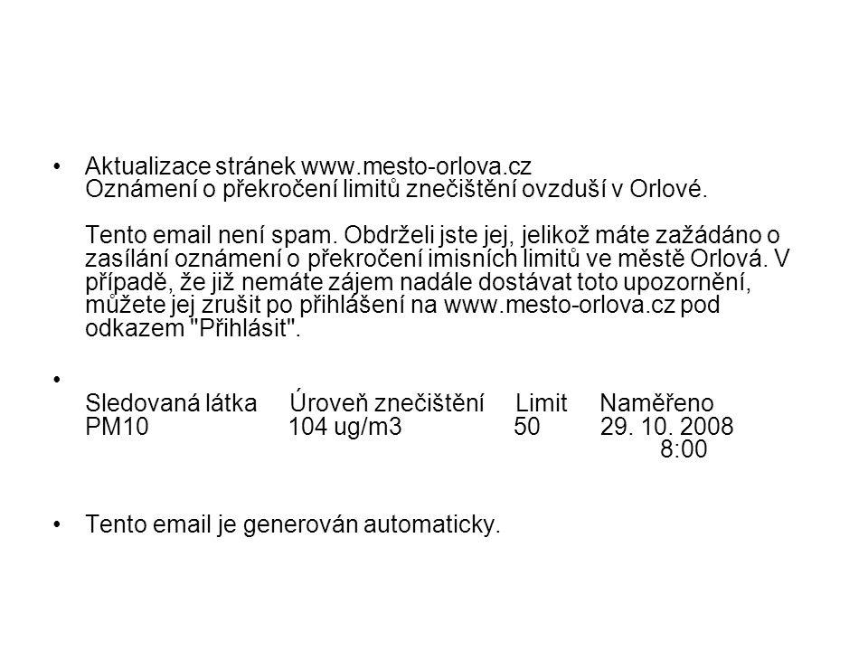 Aktualizace stránek www.mesto-orlova.cz Oznámení o překročení limitů znečištění ovzduší v Orlové.