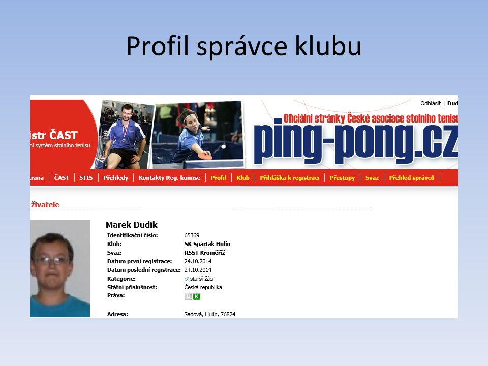 Profil správce klubu