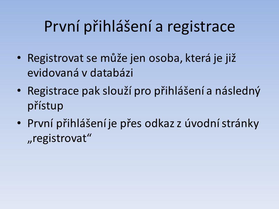 První přihlášení a registrace Registrovat se může jen osoba, která je již evidovaná v databázi Registrace pak slouží pro přihlášení a následný přístup