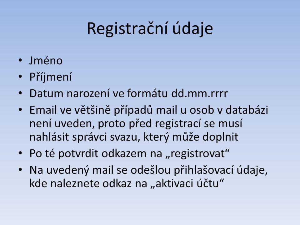 Registrační údaje Jméno Příjmení Datum narození ve formátu dd.mm.rrrr Email ve většině případů mail u osob v databázi není uveden, proto před registra