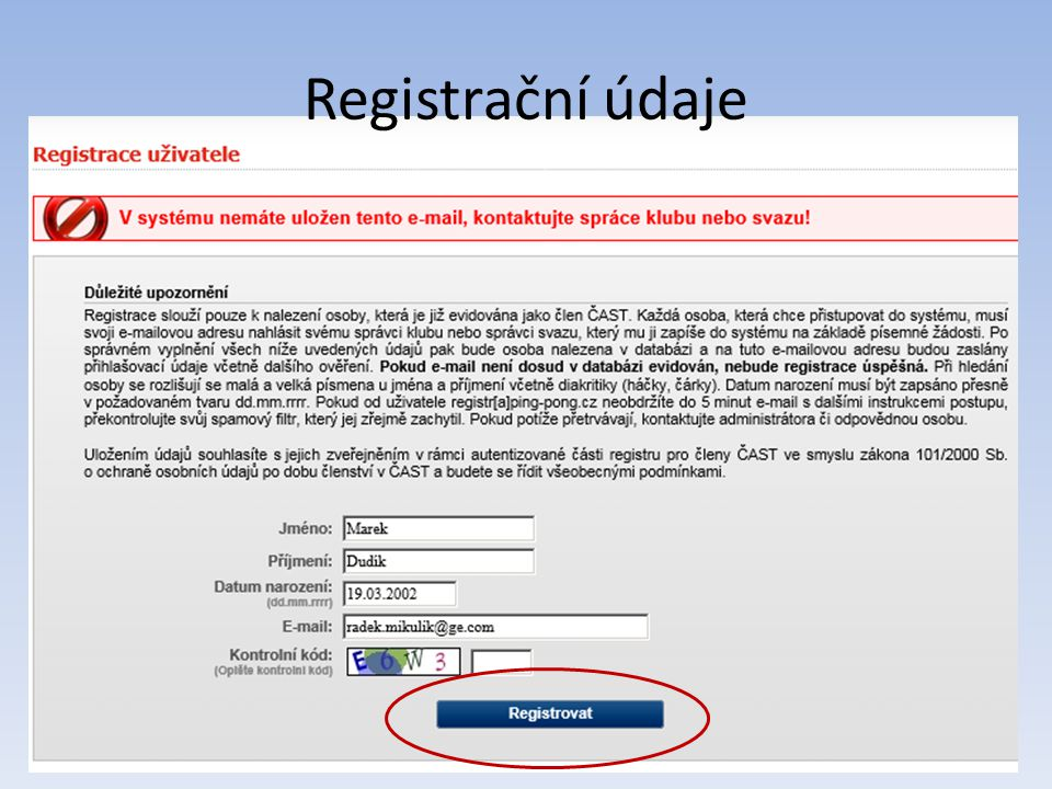 Registrační údaje