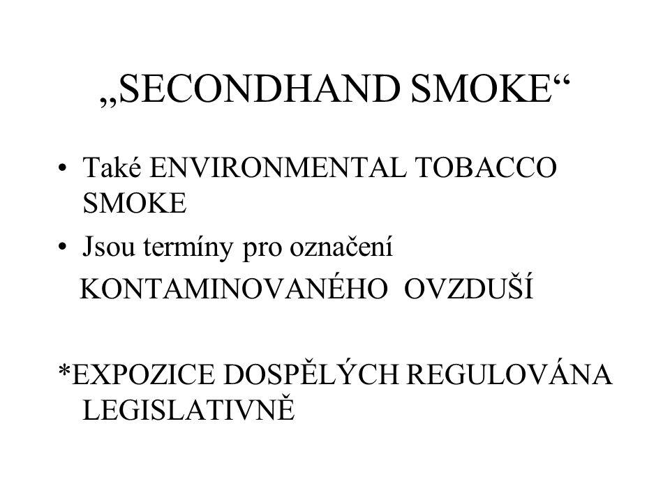 """""""SECONDHAND SMOKE Také ENVIRONMENTAL TOBACCO SMOKE Jsou termíny pro označení KONTAMINOVANÉHO OVZDUŠÍ *EXPOZICE DOSPĚLÝCH REGULOVÁNA LEGISLATIVNĚ"""