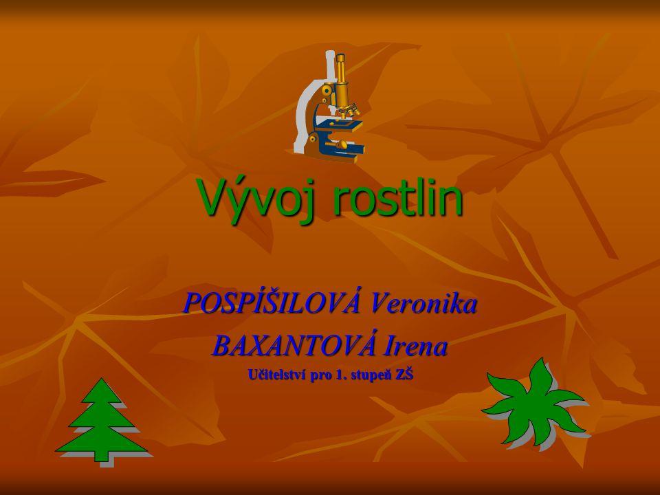 Vývoj rostlin POSPÍŠILOVÁ Veronika BAXANTOVÁ Irena Učitelství pro 1. stupeň ZŠ