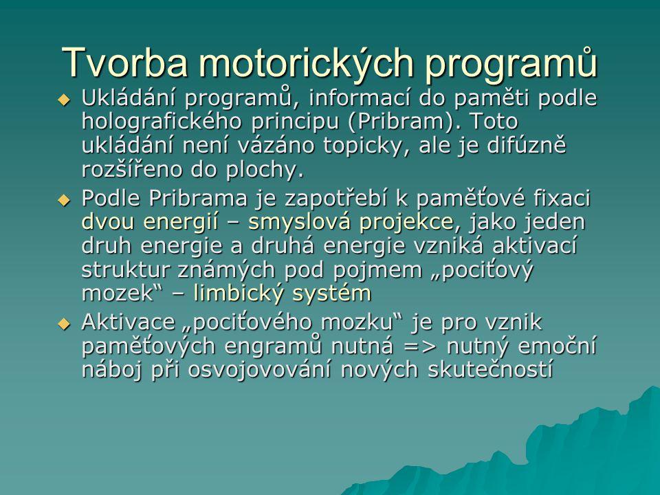 Tvorba motorických programů  Ukládání programů, informací do paměti podle holografického principu (Pribram). Toto ukládání není vázáno topicky, ale j