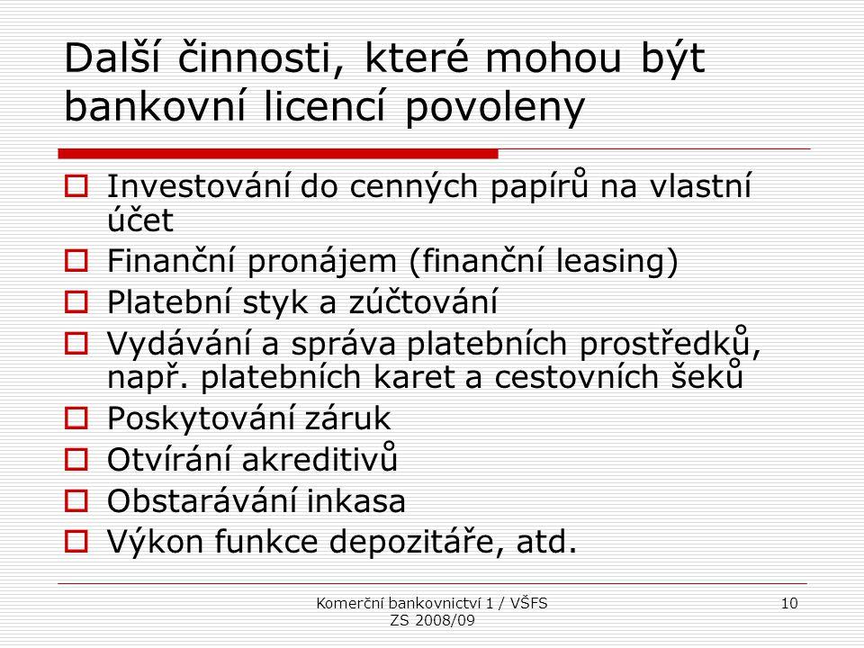 Komerční bankovnictví 1 / VŠFS ZS 2008/09 10 Další činnosti, které mohou být bankovní licencí povoleny  Investování do cenných papírů na vlastní účet