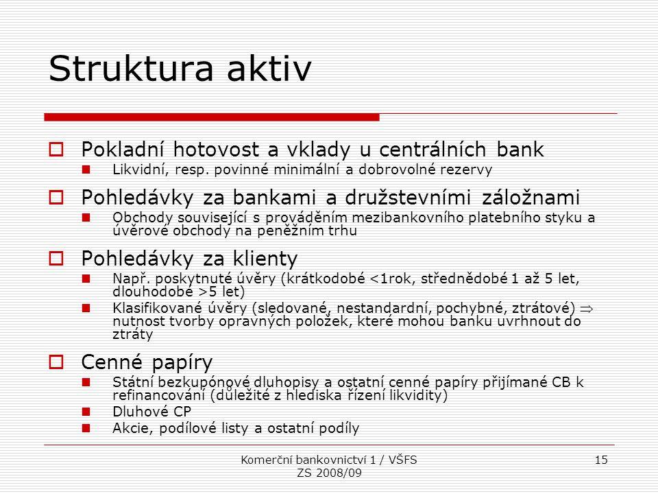 Komerční bankovnictví 1 / VŠFS ZS 2008/09 15 Struktura aktiv  Pokladní hotovost a vklady u centrálních bank Likvidní, resp. povinné minimální a dobro