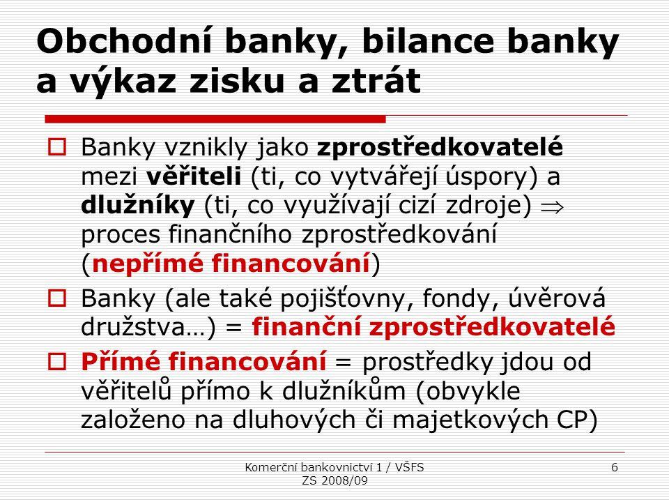 Komerční bankovnictví 1 / VŠFS ZS 2008/09 17 Struktura pasiv Z jakých zdrojů jsou financována aktiva banky – cizí zdroje, vlastní zdroje  Pro banky je typický vysoký podíl cizích zdrojů v pasivech  zavedení kapitálové přiměřenosti  Závazky vůči bankám a družstevním záložnám  Závazky vůči klientům Běžné účty Úsporné vklady Termínované vklady Vkladové listy a certifikáty Přijaté úvěry od klientů