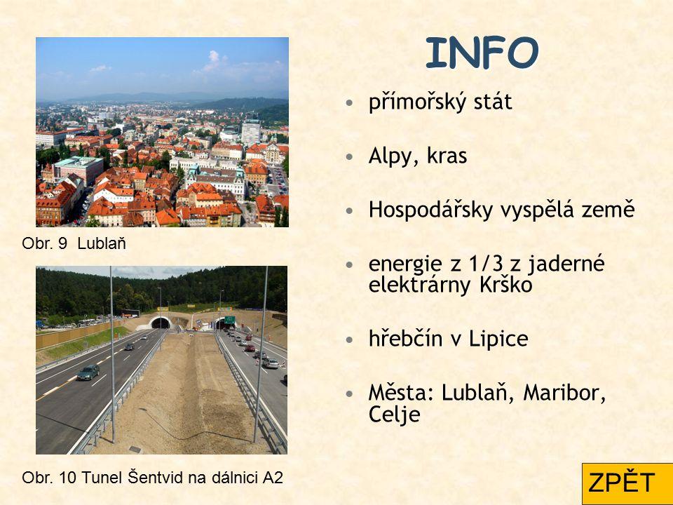 INFO přímořský stát Alpy, kras Hospodářsky vyspělá země energie z 1/3 z jaderné elektrárny Krško hřebčín v Lipice Města: Lublaň, Maribor, Celje Obr. 9