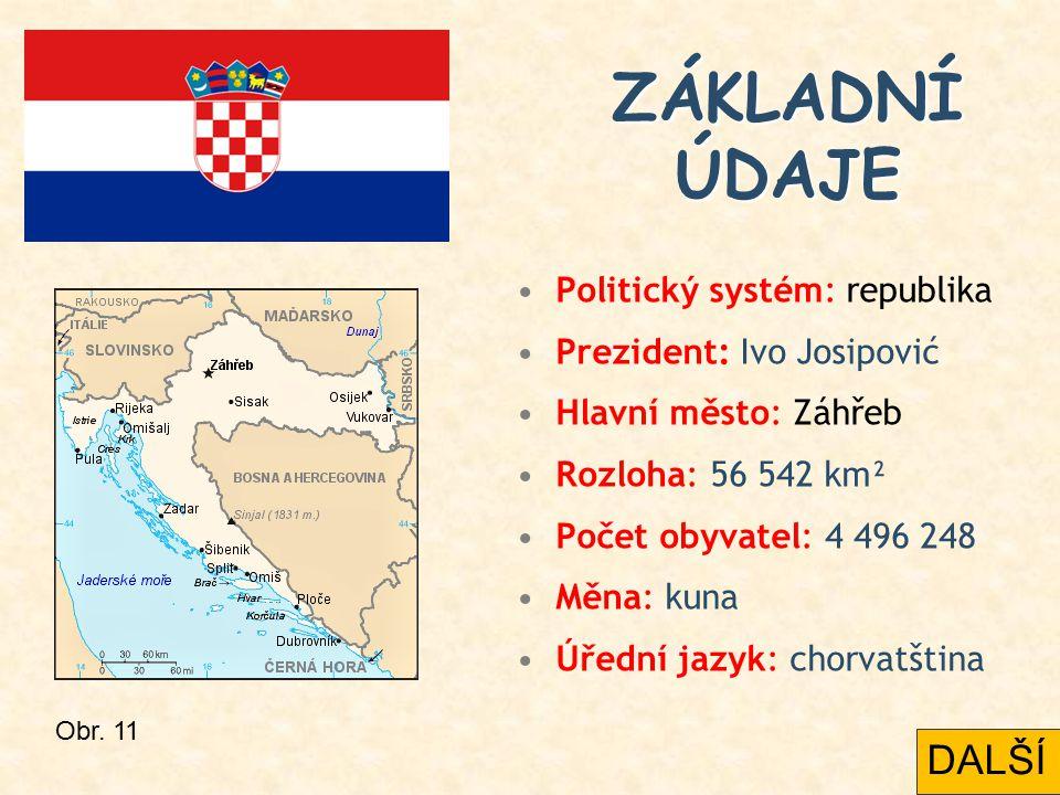Politický systém: republika Prezident: Ivo Josipović Hlavní město: Záhřeb Rozloha: 56 542 km² Počet obyvatel: 4 496 248 Měna: kuna Úřední jazyk: chorv