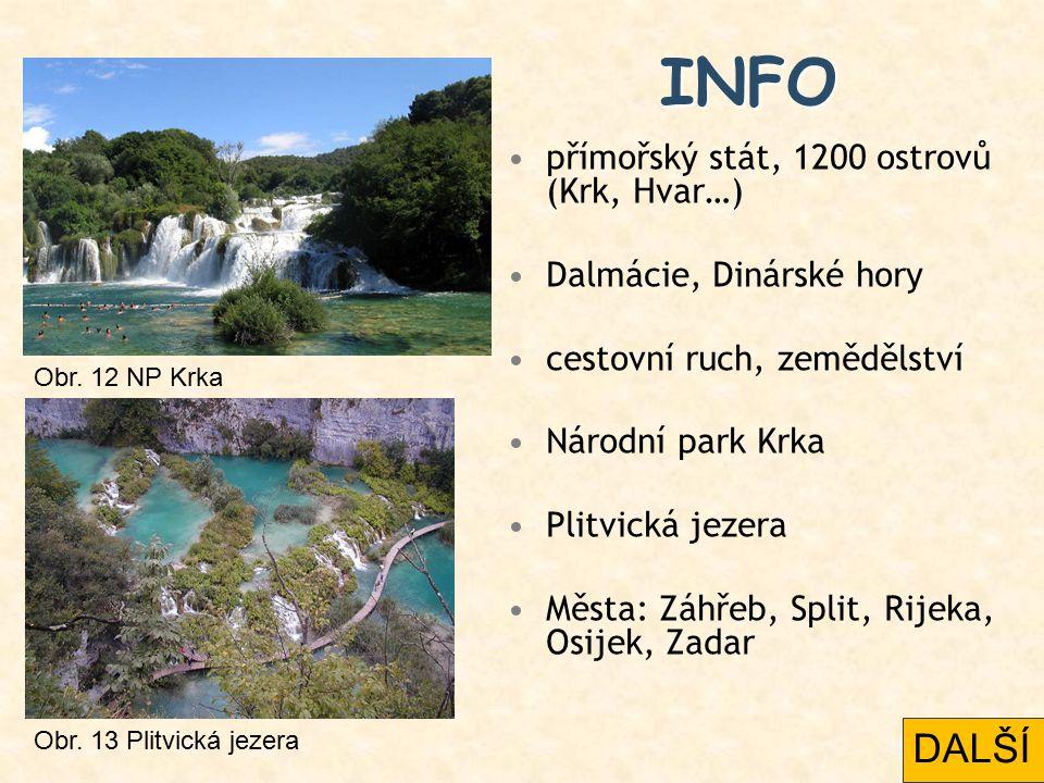 INFO přímořský stát, 1200 ostrovů (Krk, Hvar…) Dalmácie, Dinárské hory cestovní ruch, zemědělství Národní park Krka Plitvická jezera Města: Záhřeb, Sp