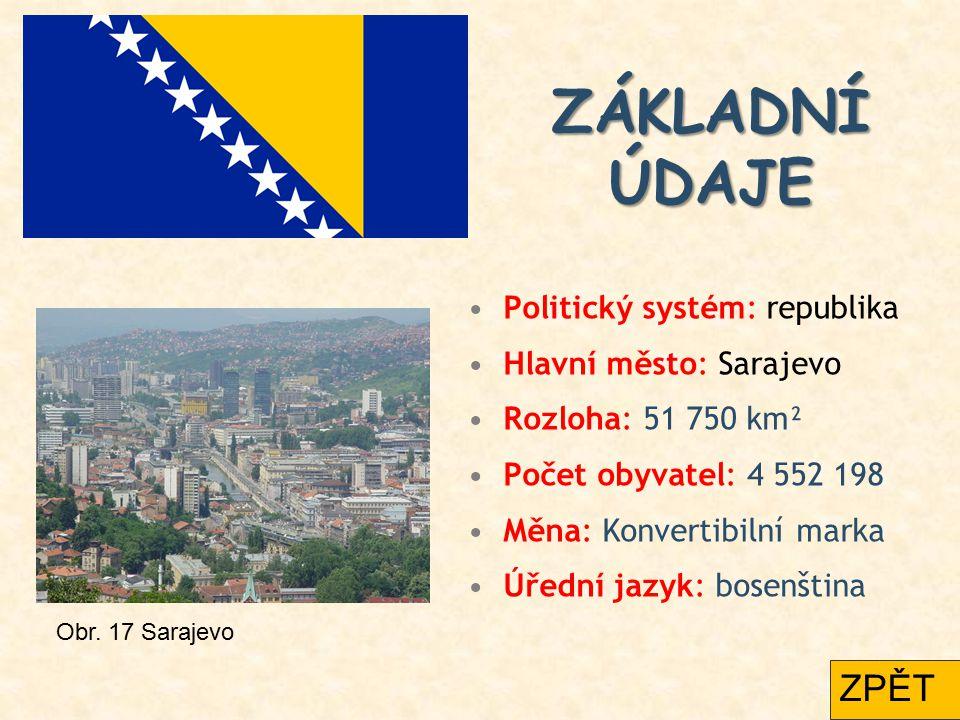 ZÁKLADNÍ ÚDAJE ZÁKLADNÍ ÚDAJE Politický systém: republika Hlavní město: Sarajevo Rozloha: 51 750 km² Počet obyvatel: 4 552 198 Měna: Konvertibilní mar