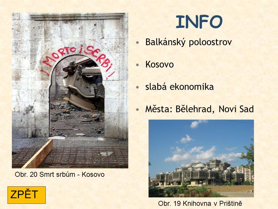 INFO Balkánský poloostrov Kosovo slabá ekonomika Města: Bělehrad, Novi Sad Obr. 19 Knihovna v Prištině Obr. 20 Smrt srbům - Kosovo ZPĚT