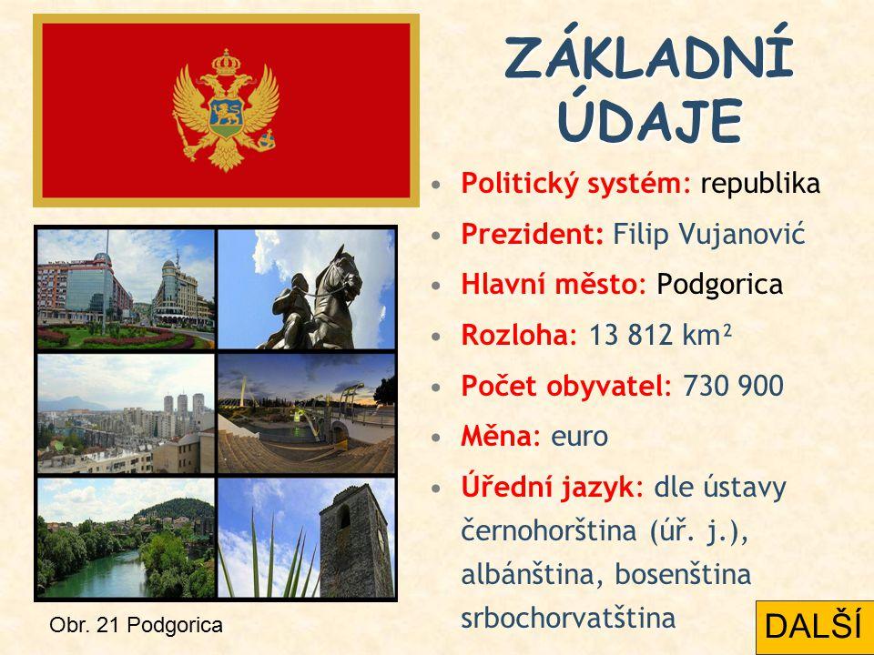 Politický systém: republika Prezident: Filip Vujanović Hlavní město: Podgorica Rozloha: 13 812 km² Počet obyvatel: 730 900 Měna: euro Úřední jazyk: dl