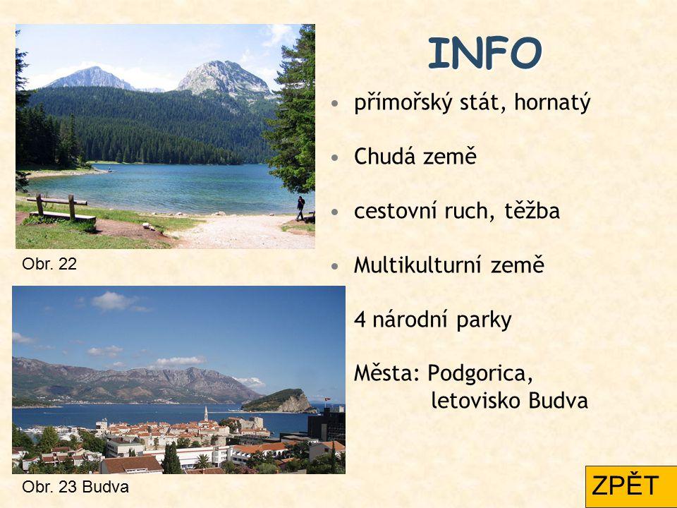 INFO přímořský stát, hornatý Chudá země cestovní ruch, těžba Multikulturní země 4 národní parky Města: Podgorica, letovisko Budva Obr. 22 Obr. 23 Budv