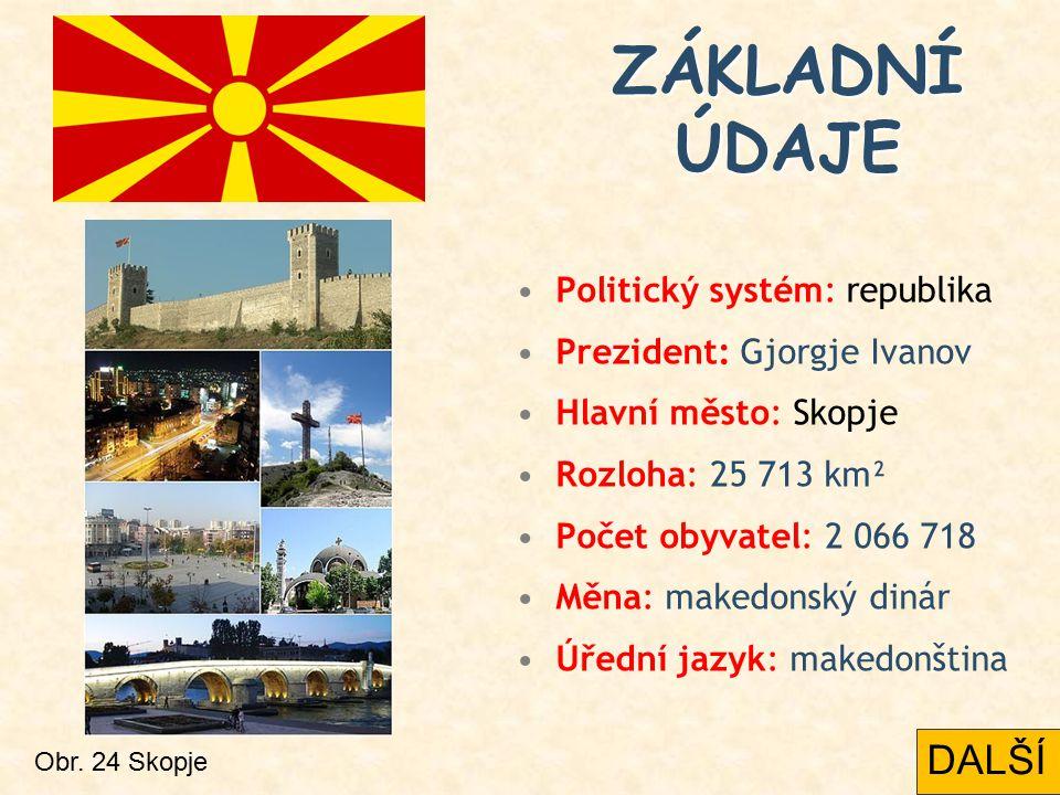 Politický systém: republika Prezident: Gjorgje Ivanov Hlavní město: Skopje Rozloha: 25 713 km² Počet obyvatel: 2 066 718 Měna: makedonský dinár Úřední