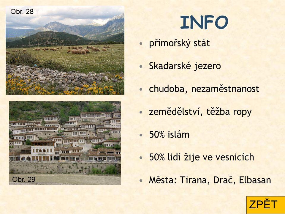 INFO přímořský stát Skadarské jezero chudoba, nezaměstnanost zemědělství, těžba ropy 50% islám 50% lidí žije ve vesnicích Města: Tirana, Drač, Elbasan