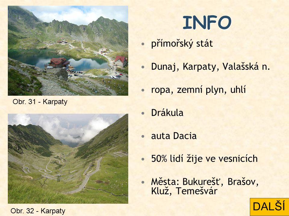 INFO přímořský stát Dunaj, Karpaty, Valašská n. ropa, zemní plyn, uhlí Drákula auta Dacia 50% lidí žije ve vesnicích Města: Bukurešť, Brašov, Kluž, Te