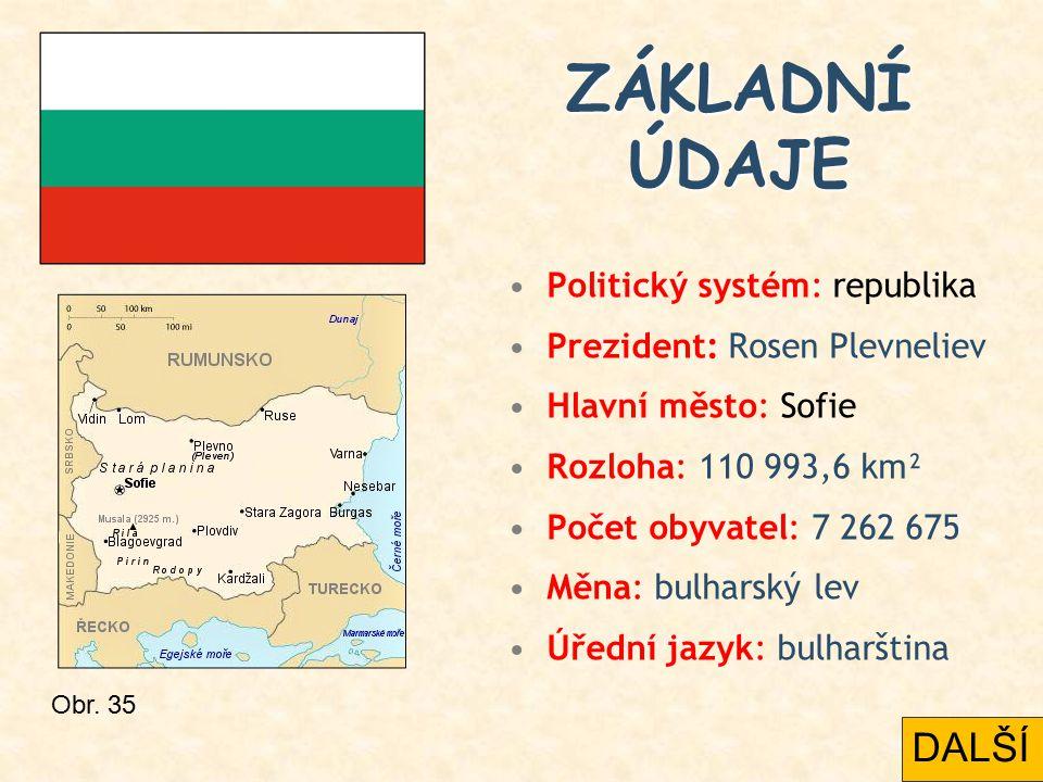 Politický systém: republika Prezident: Rosen Plevneliev Hlavní město: Sofie Rozloha: 110 993,6 km² Počet obyvatel: 7 262 675 Měna: bulharský lev Úředn