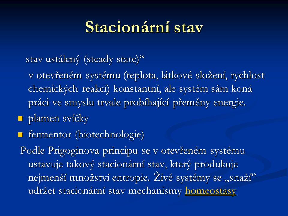 Stacionární stav stav ustálený (steady state) stav ustálený (steady state) v otevřeném systému (teplota, látkové složení, rychlost chemických reakcí) konstantní, ale systém sám koná práci ve smyslu trvale probíhající přeměny energie.